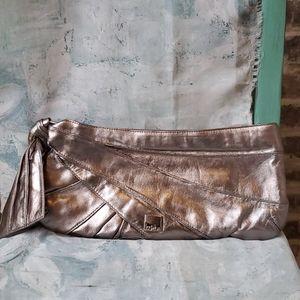 Kooba Metallic Silver Long Chic Clutch Side Bow